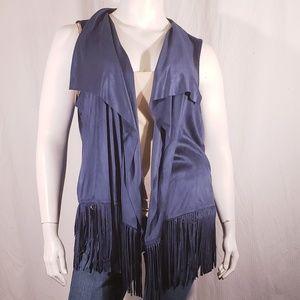3/$20 A.N.A Blue Fringe Vest size xlarge